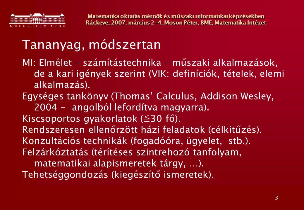 4 Matematika oktatás mérnök és műszaki informatikai képzésekben Ráckeve, 2007.