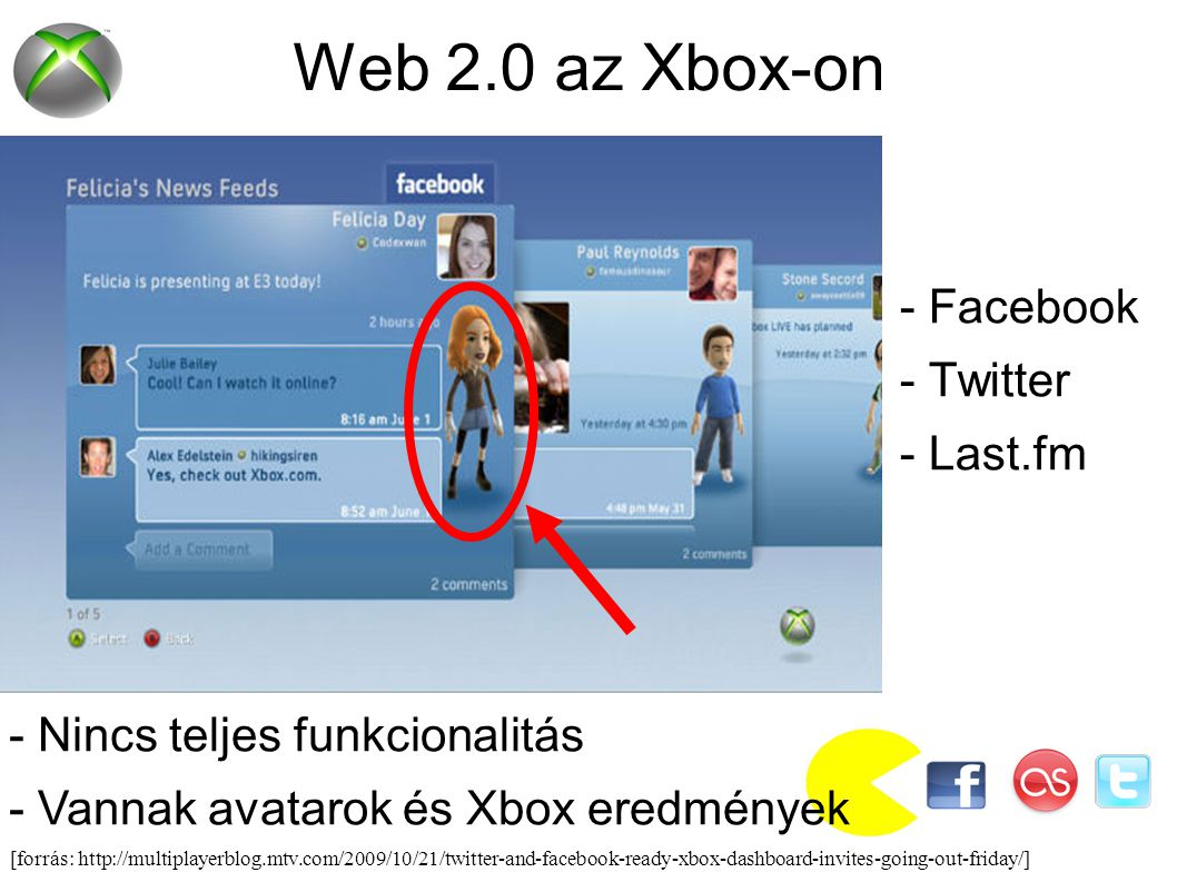 [forrás: http://multiplayerblog.mtv.com/2009/10/21/twitter-and-facebook-ready-xbox-dashboard-invites-going-out-friday/] Web 2.0 az Xbox-on - Facebook