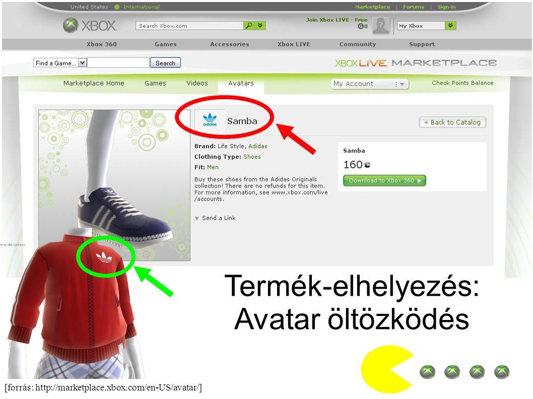 [forrás: http://marketplace.xbox.com/en-US/avatar/] Termék-elhelyezés: Avatar öltözködés
