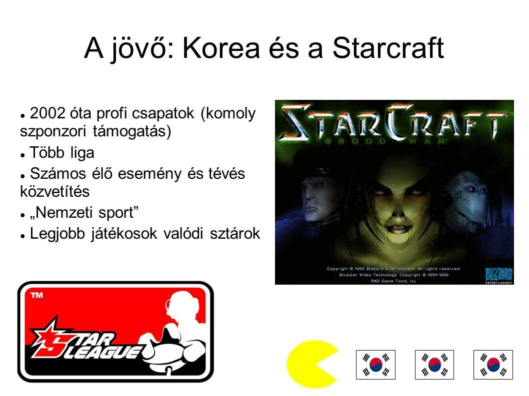 """A jövő: Korea és a Starcraft 2002 óta profi csapatok (komoly szponzori támogatás) Több liga Számos élő esemény és tévés közvetítés """"Nemzeti sport Legjobb játékosok valódi sztárok"""