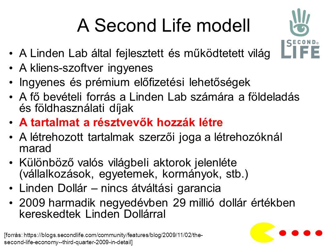 A Second Life modell A Linden Lab által fejlesztett és működtetett világ A kliens-szoftver ingyenes Ingyenes és prémium előfizetési lehetőségek A fő bevételi forrás a Linden Lab számára a földeladás és földhasználati díjak A tartalmat a résztvevők hozzák létre A létrehozott tartalmak szerzői joga a létrehozóknál marad Különböző valós világbeli aktorok jelenléte (vállalkozások, egyetemek, kormányok, stb.) Linden Dollár – nincs átváltási garancia 2009 harmadik negyedévben 29 millió dollár értékben kereskedtek Linden Dollárral [forrás: https://blogs.secondlife.com/community/features/blog/2009/11/02/the- second-life-economy--third-quarter-2009-in-detail]