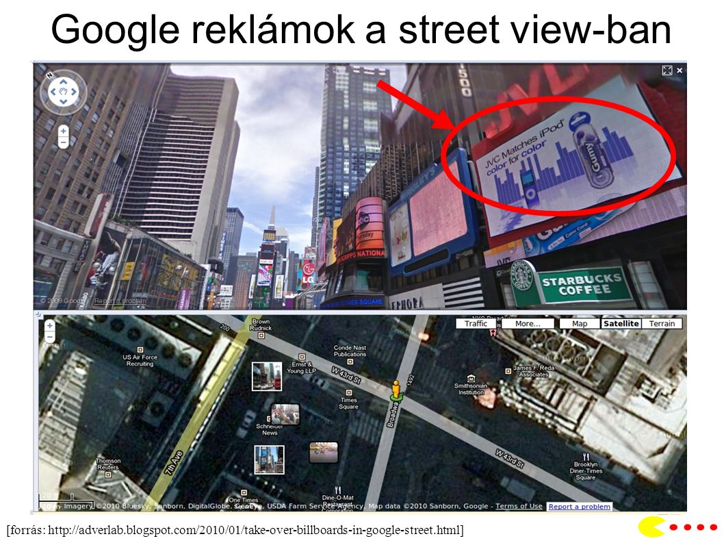 Google reklámok a street view-ban [forrás: http://adverlab.blogspot.com/2010/01/take-over-billboards-in-google-street.html]
