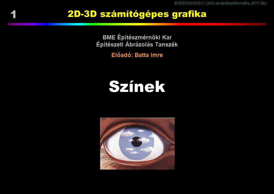 BMEEPAG0233-C CAAD és építészinformatika /2011 ősz 1 2D-3D számítógépes grafika BME Építészmérnöki Kar Építészeti Ábrázolás Tanszék Előadó: Batta Imre Színek