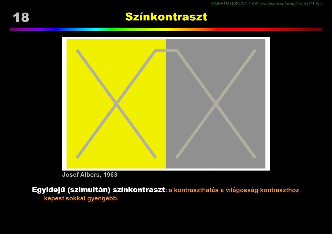 BMEEPAG0233-C CAAD és építészinformatika /2011 ősz 18 Színkontraszt Egyidejű (szimultán) színkontraszt : a kontraszthatás a világosság kontraszthoz képest sokkal gyengébb.