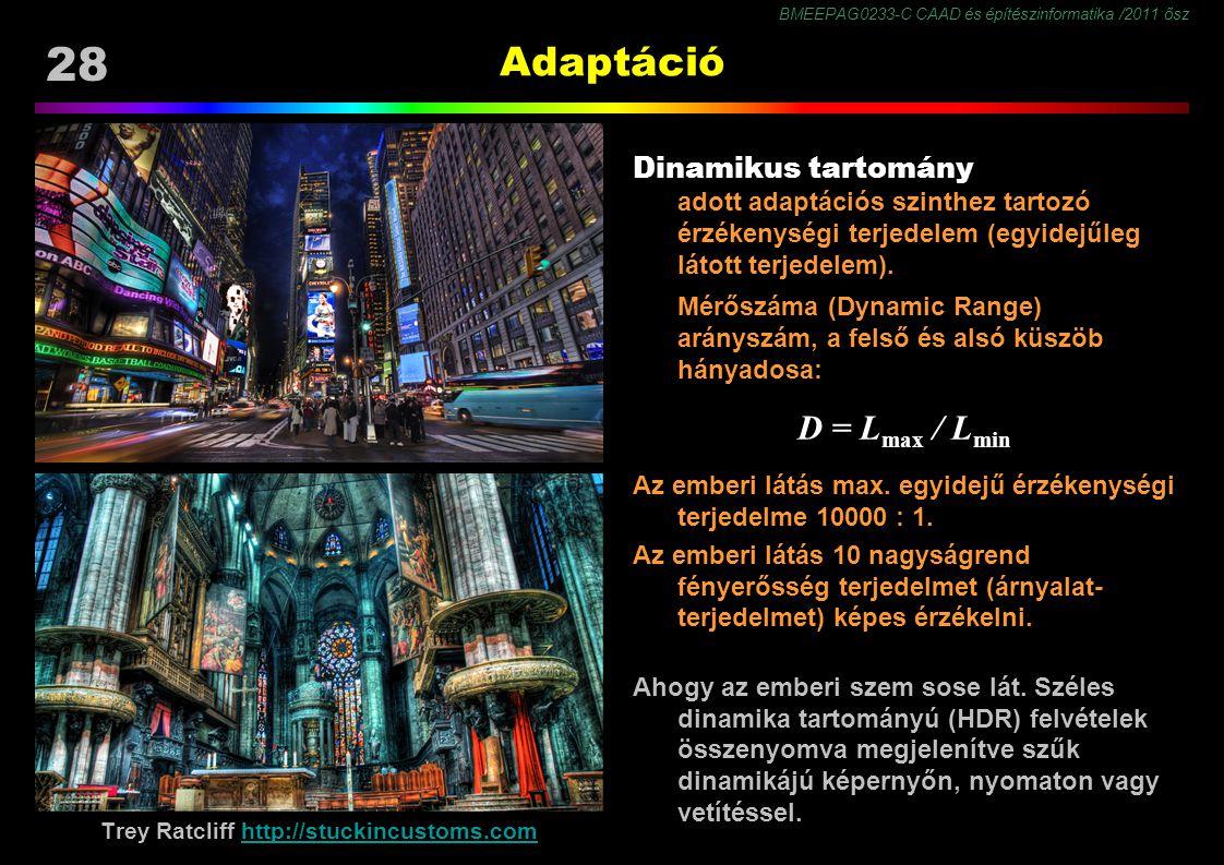 BMEEPAG0233-C CAAD és építészinformatika /2011 ősz 28 Adaptáció Dinamikus tartomány adott adaptációs szinthez tartozó érzékenységi terjedelem (egyidejűleg látott terjedelem).