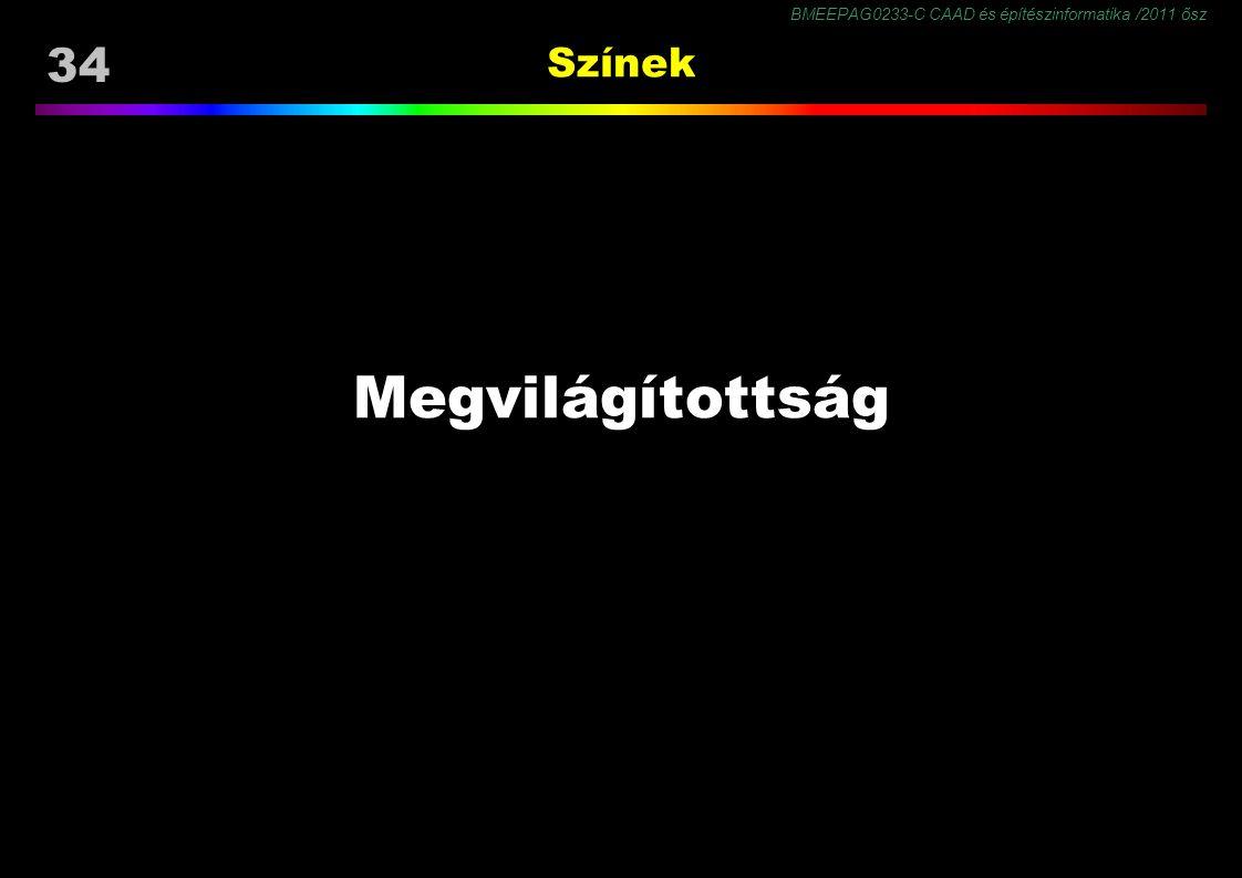 BMEEPAG0233-C CAAD és építészinformatika /2011 ősz 34 Színek Megvilágítottság