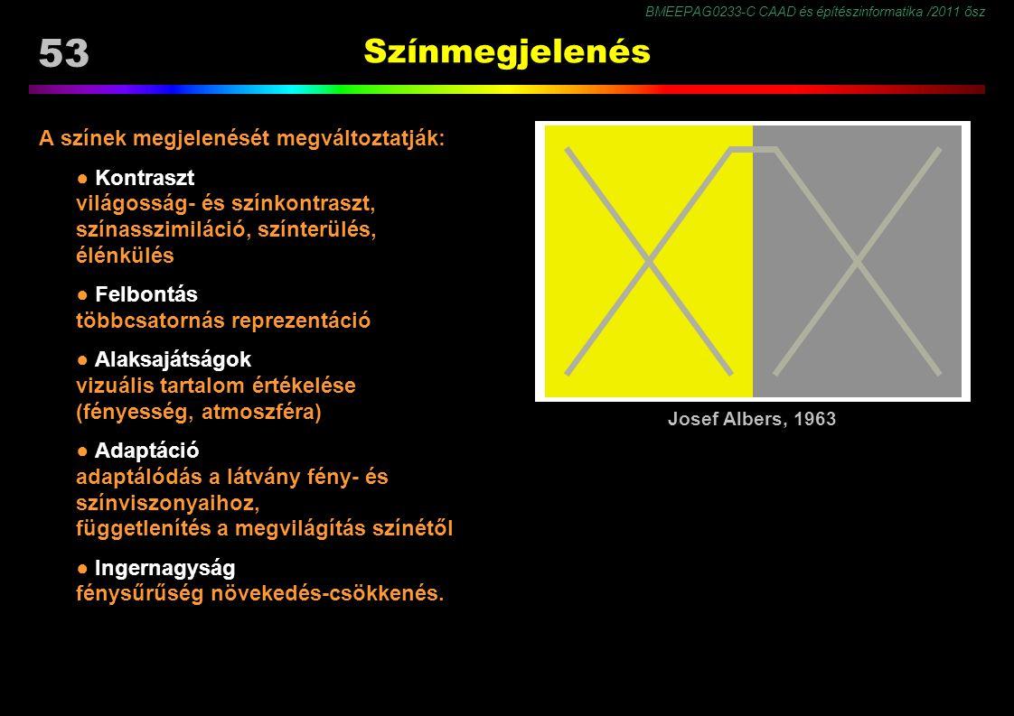 BMEEPAG0233-C CAAD és építészinformatika /2011 ősz 53 Színmegjelenés A színek megjelenését megváltoztatják: ● Kontraszt világosság- és színkontraszt, színasszimiláció, színterülés, élénkülés ● Felbontás többcsatornás reprezentáció ● Alaksajátságok vizuális tartalom értékelése (fényesség, atmoszféra) ● Adaptáció adaptálódás a látvány fény- és színviszonyaihoz, függetlenítés a megvilágítás színétől ● Ingernagyság fénysűrűség növekedés-csökkenés.