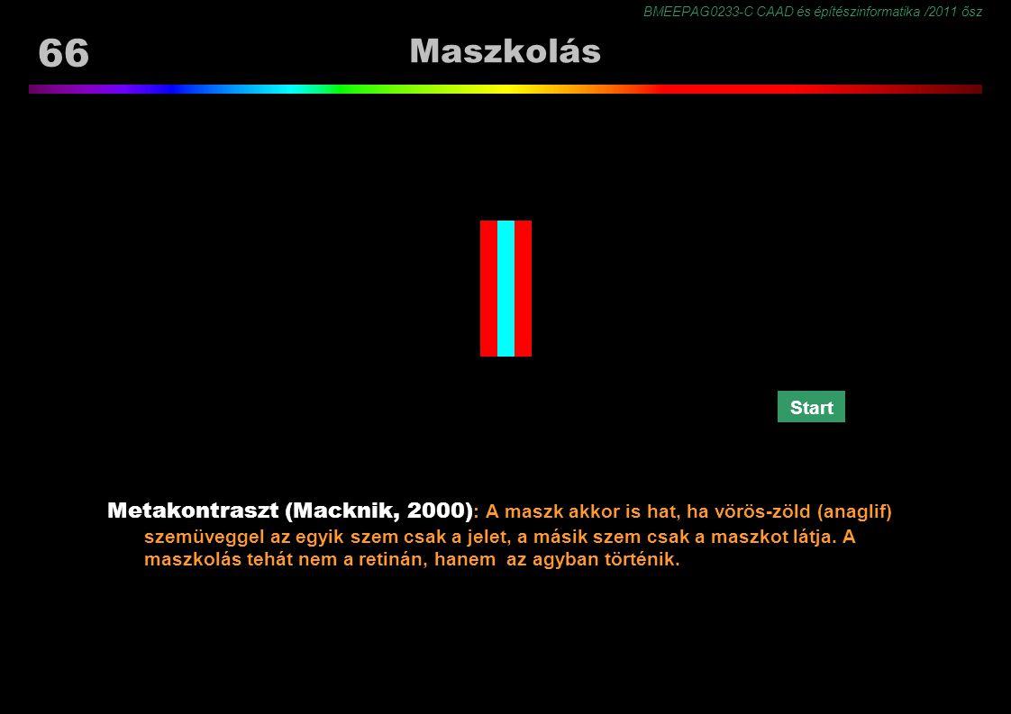 BMEEPAG0233-C CAAD és építészinformatika /2011 ősz 66 Maszkolás Metakontraszt (Macknik, 2000) : A maszk akkor is hat, ha vörös-zöld (anaglif) szemüveggel az egyik szem csak a jelet, a másik szem csak a maszkot látja.