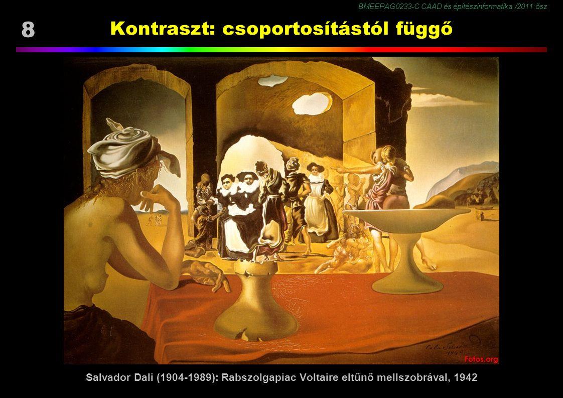 BMEEPAG0233-C CAAD és építészinformatika /2011 ősz 8 Kontraszt: csoportosítástól függő Salvador Dali (1904-1989): Rabszolgapiac Voltaire eltűnő mellszobrával, 1942
