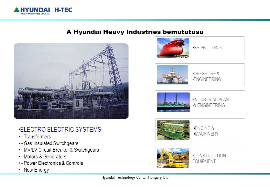 A Hyundai Heavy Industries bemutatása Hyundai Technology Center Hungary Ltd ELECTRO ELECTRIC SYSTEMS - Transformers - Gas Insulated Switchgears - MV/L