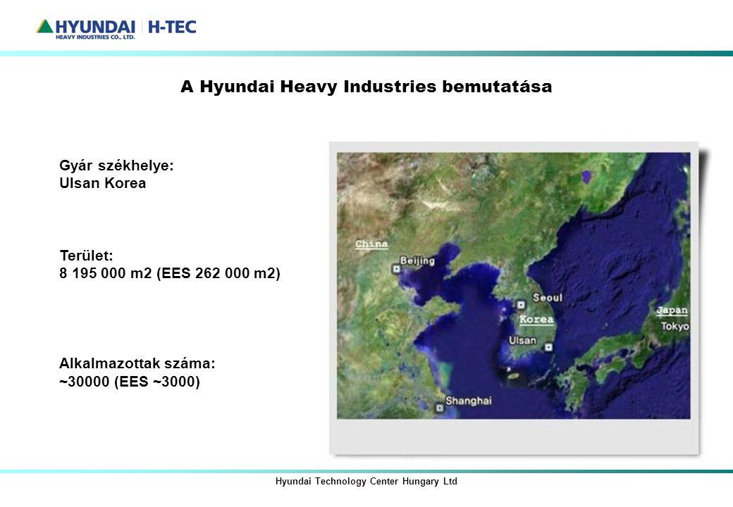 A Hyundai Heavy Industries bemutatása Hyundai Technology Center Hungary Ltd Gyár székhelye: Ulsan Korea Terület: 8 195 000 m2 (EES 262 000 m2) Alkalma