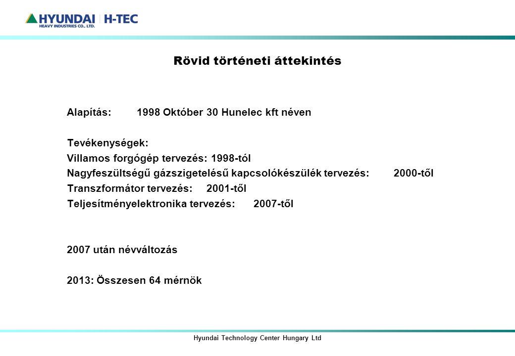 Rövid történeti áttekintés Alapítás: 1998 Október 30 Hunelec kft néven Tevékenységek: Villamos forgógép tervezés: 1998-tól Nagyfeszültségű gázszigetel