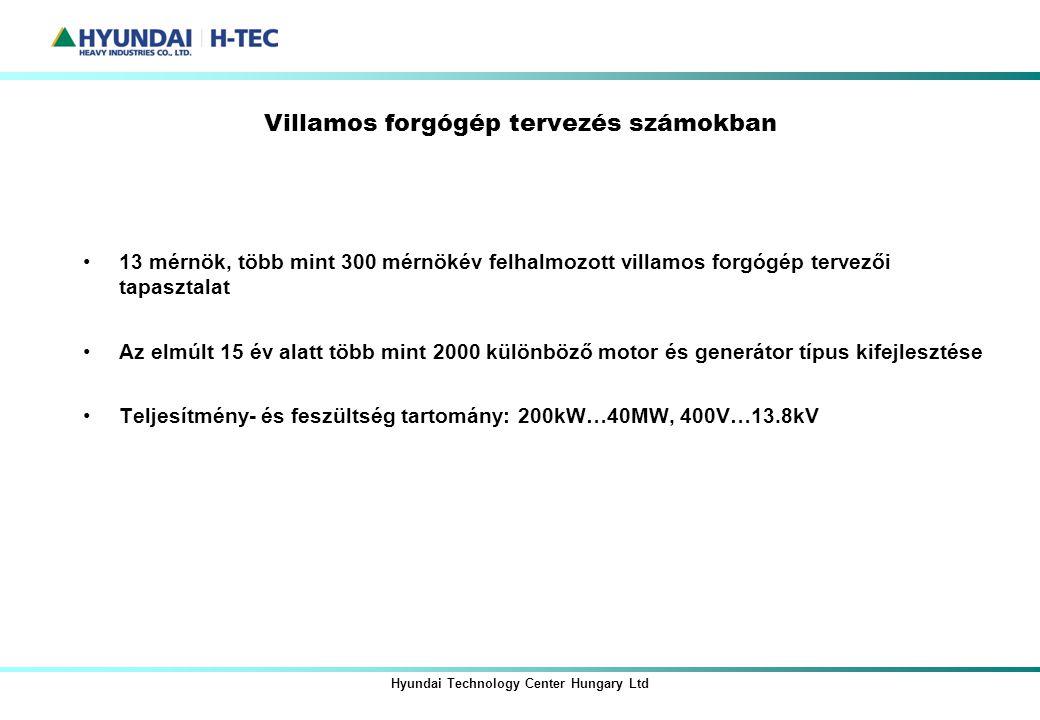 Villamos forgógép tervezés számokban Hyundai Technology Center Hungary Ltd 13 mérnök, több mint 300 mérnökév felhalmozott villamos forgógép tervezői t