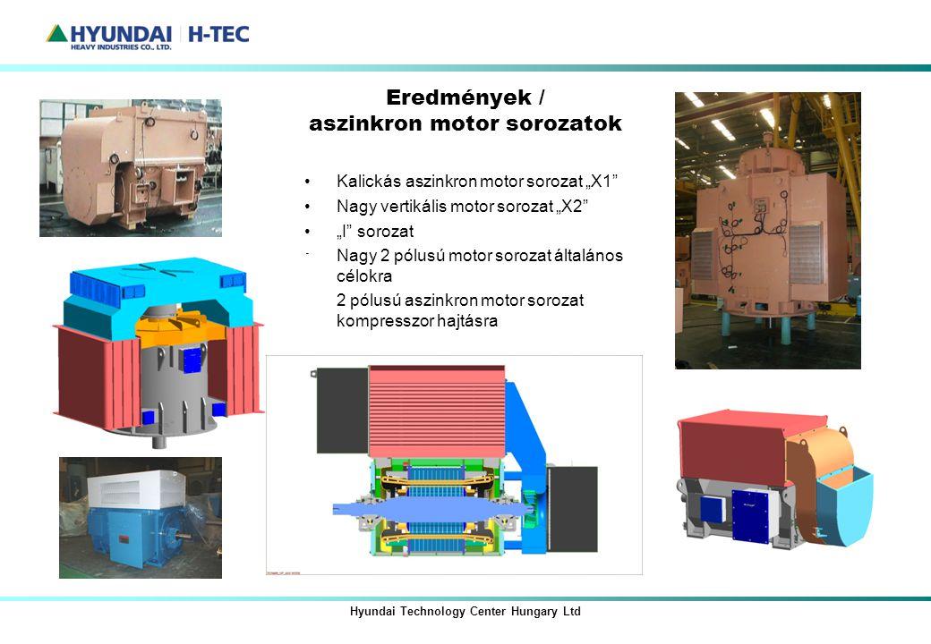 """Hyundai Technology Center Hungary Ltd Eredmények / aszinkron motor sorozatok Kalickás aszinkron motor sorozat """"X1"""" Nagy vertikális motor sorozat """"X2"""""""