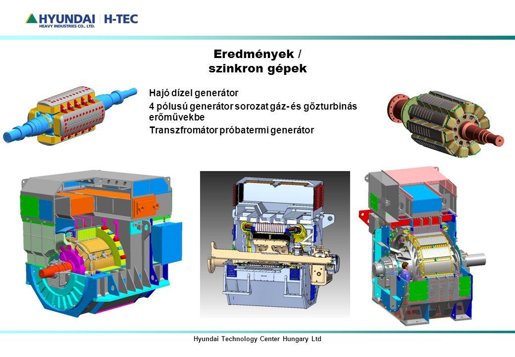 Hyundai Technology Center Hungary Ltd Eredmények / szinkron gépek Hajó dízel generátor 4 pólusú generátor sorozat gáz- és gőzturbinás erőművekbe Trans