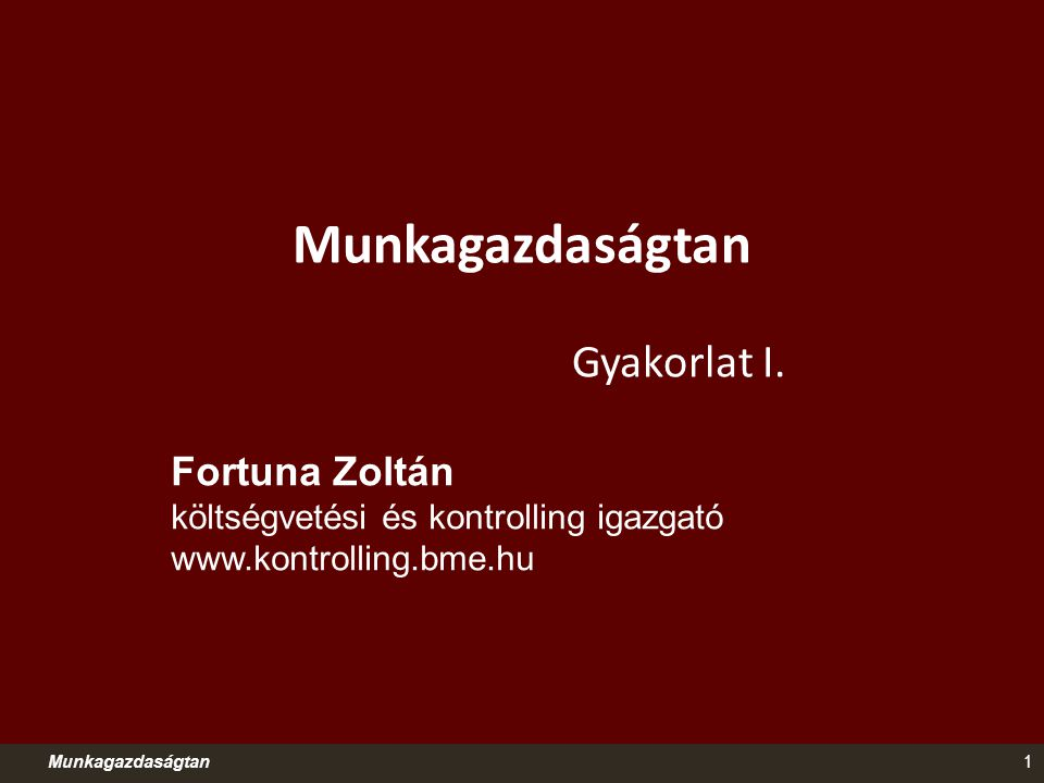 Munkagazdaságtan Gyakorlat I. Fortuna Zoltán költségvetési és kontrolling igazgató www.kontrolling.bme.hu 1Munkagazdaságtan