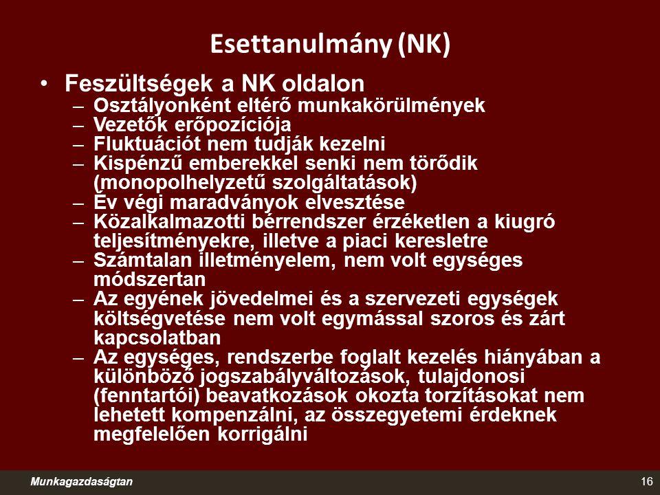 Esettanulmány (NK) Munkagazdaságtan16 Feszültségek a NK oldalon –Osztályonként eltérő munkakörülmények –Vezetők erőpozíciója –Fluktuációt nem tudják k