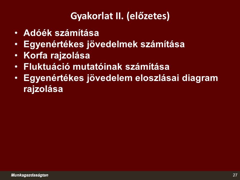 Gyakorlat II. (előzetes) Adóék számítása Egyenértékes jövedelmek számítása Korfa rajzolása Fluktuáció mutatóinak számítása Egyenértékes jövedelem elos
