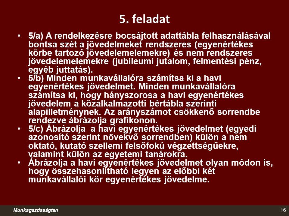 5. feladat 5/a) A rendelkezésre bocsájtott adattábla felhasználásával bontsa szét a jövedelmeket rendszeres (egyenértékes körbe tartozó jövedelemeleme