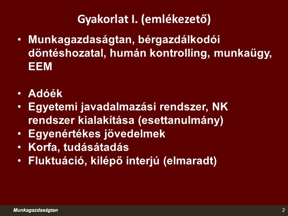 Gyakorlat I. (emlékezető) Munkagazdaságtan, bérgazdálkodói döntéshozatal, humán kontrolling, munkaügy, EEM Adóék Egyetemi javadalmazási rendszer, NK r