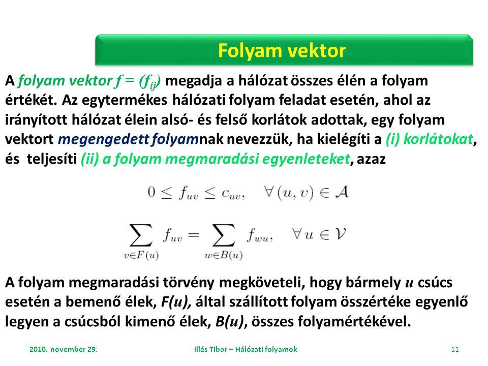 2010. november 29. Illés Tibor – Hálózati folyamok 11 Folyam vektor A folyam vektor f = (f ij ) megadja a hálózat összes élén a folyam értékét. Az egy