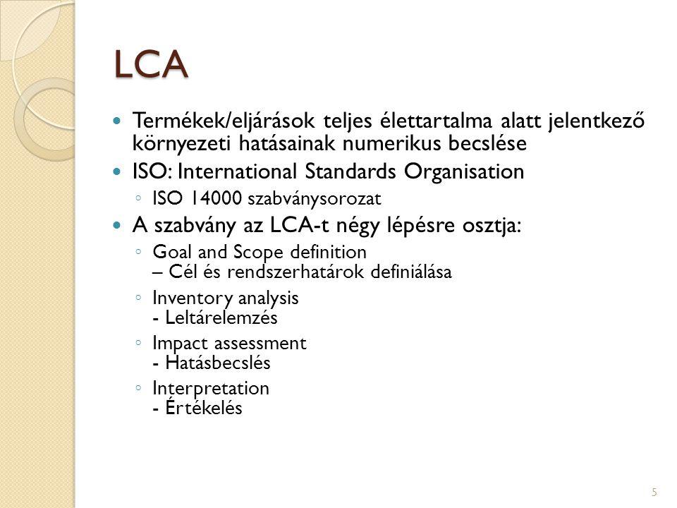LCA Termékek/eljárások teljes élettartalma alatt jelentkező környezeti hatásainak numerikus becslése ISO: International Standards Organisation ◦ ISO 1