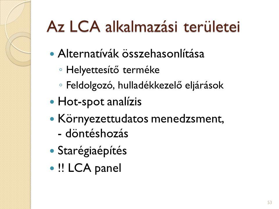 Az LCA alkalmazási területei Alternatívák összehasonlítása ◦ Helyettesítő terméke ◦ Feldolgozó, hulladékkezelő eljárások Hot-spot analízis Környezettu