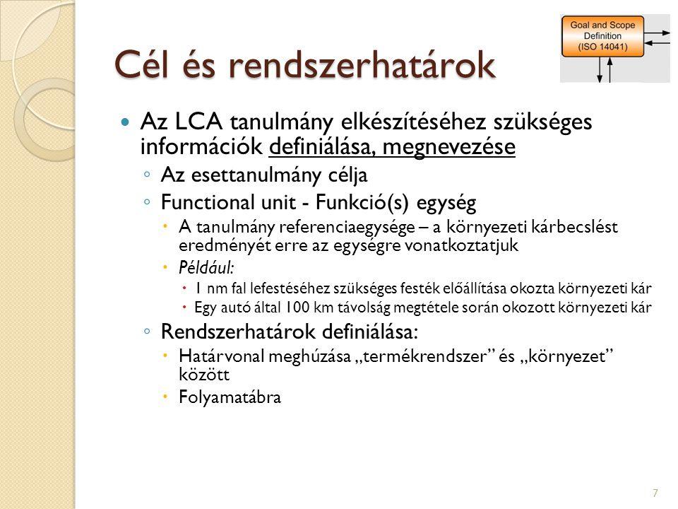 Cél és rendszerhatárok Az LCA tanulmány elkészítéséhez szükséges információk definiálása, megnevezése ◦ Az esettanulmány célja ◦ Functional unit - Fun