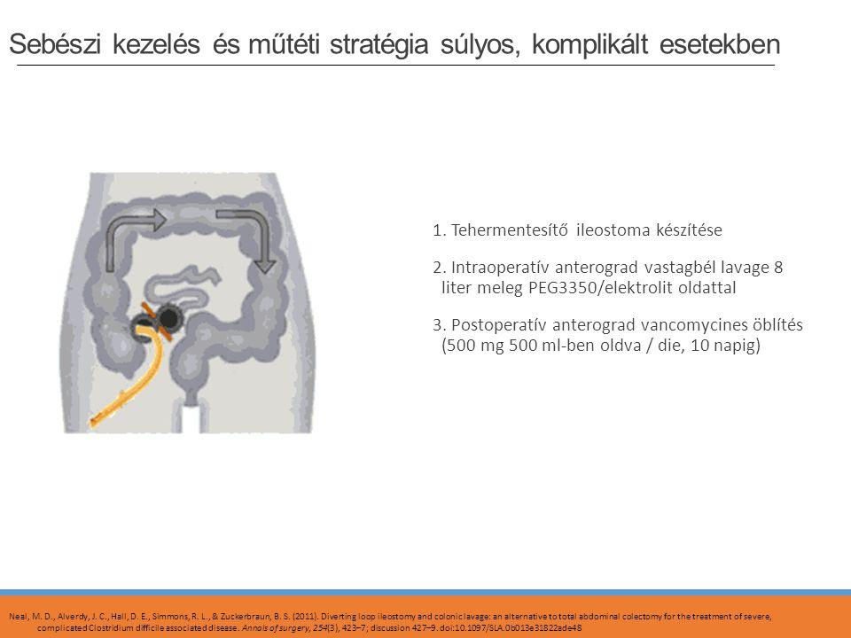 Sebészi kezelés és műtéti stratégia súlyos, komplikált esetekben 1. Tehermentesítő ileostoma készítése 2. Intraoperatív anterograd vastagbél lavage 8