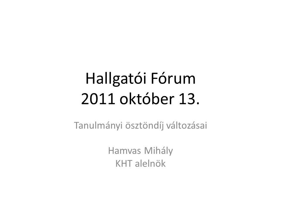 Hallgatói Fórum 2011 október 13. Tanulmányi ösztöndíj változásai Hamvas Mihály KHT alelnök