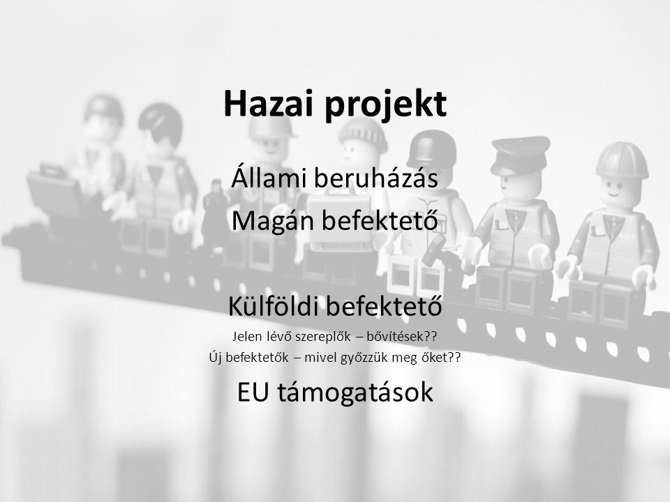 Hazai projekt Állami beruházás Magán befektető Külföldi befektető Jelen lévő szereplők – bővítések?.