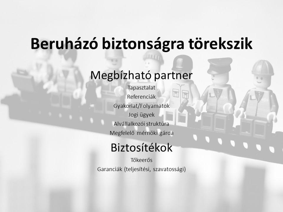 Beruházó biztonságra törekszik Megbízható partner Tapasztalat Referenciák Gyakorlat/Folyamatok Jogi ügyek Alvállalkozói struktúra Megfelelő mérnöki gárda Biztosítékok Tőkeerős Garanciák (teljesítési, szavatossági)