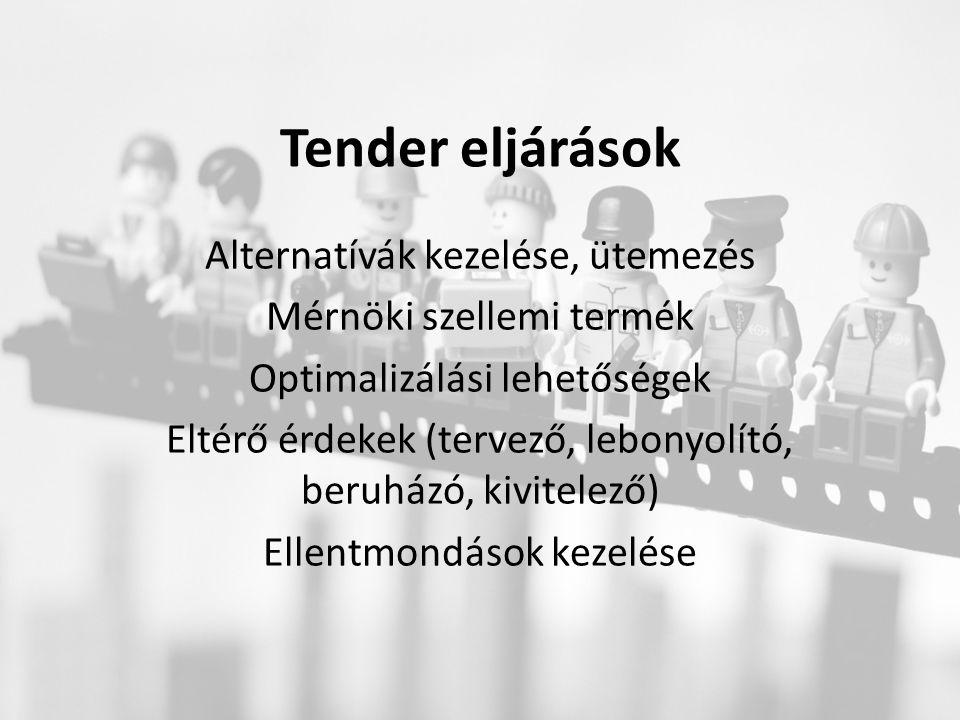 Tender eljárások Alternatívák kezelése, ütemezés Mérnöki szellemi termék Optimalizálási lehetőségek Eltérő érdekek (tervező, lebonyolító, beruházó, kivitelező) Ellentmondások kezelése