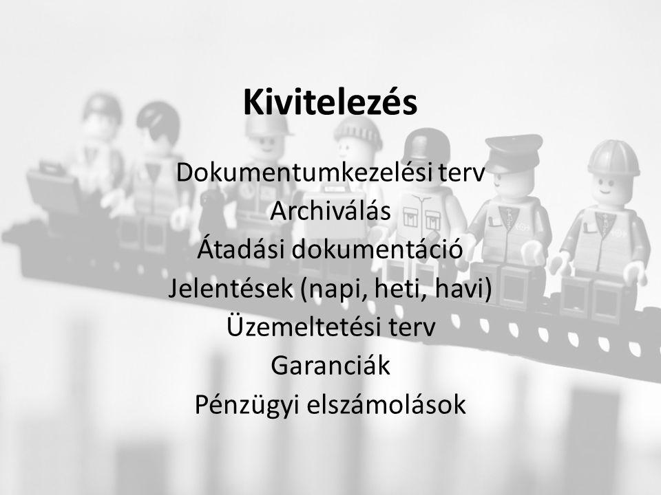 Kivitelezés Dokumentumkezelési terv Archiválás Átadási dokumentáció Jelentések (napi, heti, havi) Üzemeltetési terv Garanciák Pénzügyi elszámolások