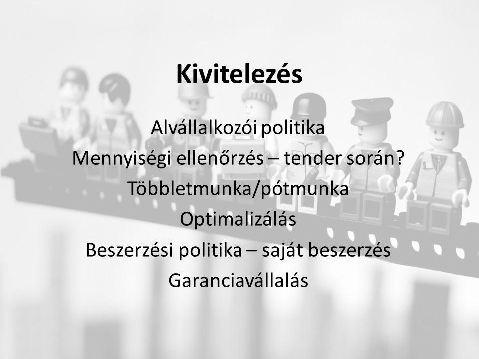 Kivitelezés Alvállalkozói politika Mennyiségi ellenőrzés – tender során.