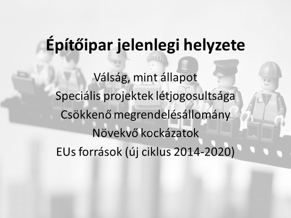 Építőipar jelenlegi helyzete Válság, mint állapot Speciális projektek létjogosultsága Csökkenő megrendelésállomány Növekvő kockázatok EUs források (új ciklus 2014-2020)