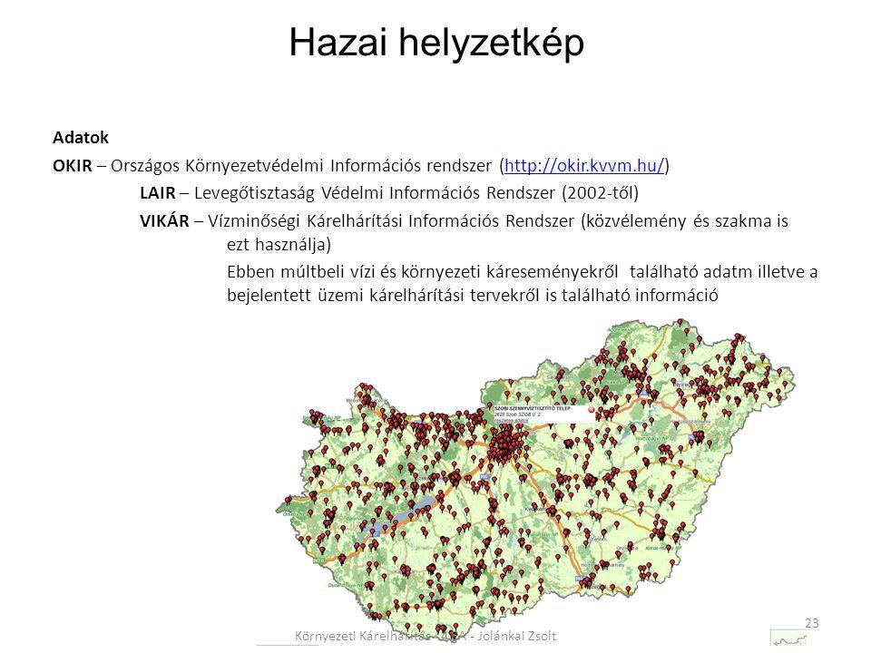 Adatok OKIR – Országos Környezetvédelmi Információs rendszer (http://okir.kvvm.hu/)http://okir.kvvm.hu/ LAIR – Levegőtisztaság Védelmi Információs Rendszer (2002-től) VIKÁR – Vízminőségi Kárelhárítási Információs Rendszer (közvélemény és szakma is ezt használja) Ebben múltbeli vízi és környezeti káreseményekről található adatm illetve a bejelentett üzemi kárelhárítási tervekről is található információ 23 Környezeti Kárelhárítás - 4 EA - Jolánkai Zsolt Hazai helyzetkép