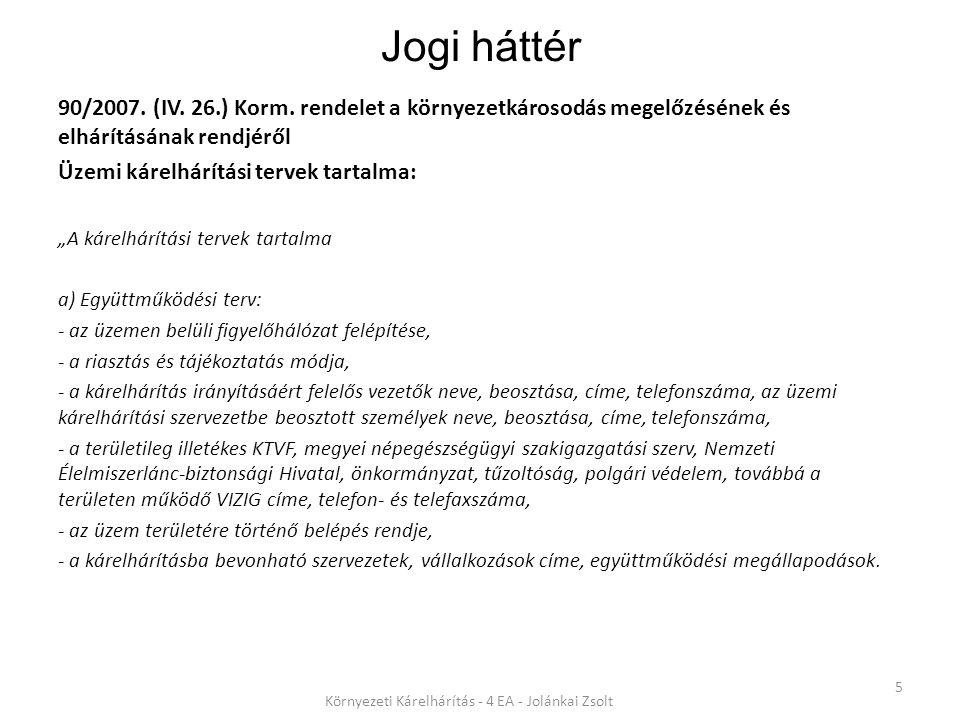 Jogi háttér 90/2007.(IV. 26.) Korm.