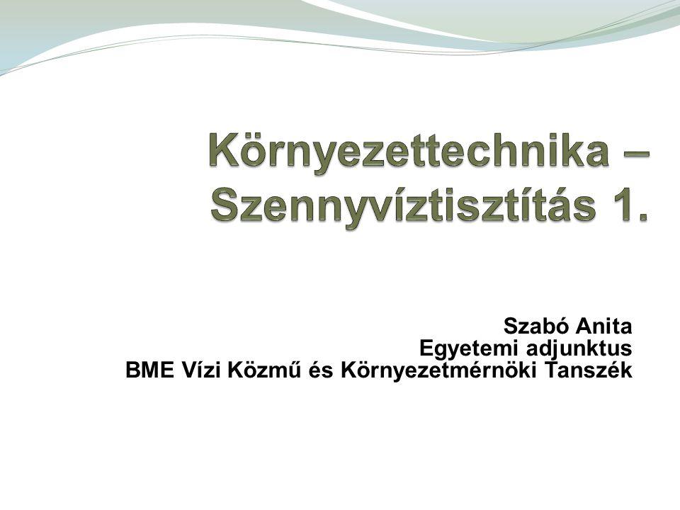 Szabó Anita Egyetemi adjunktus BME Vízi Közmű és Környezetmérnöki Tanszék