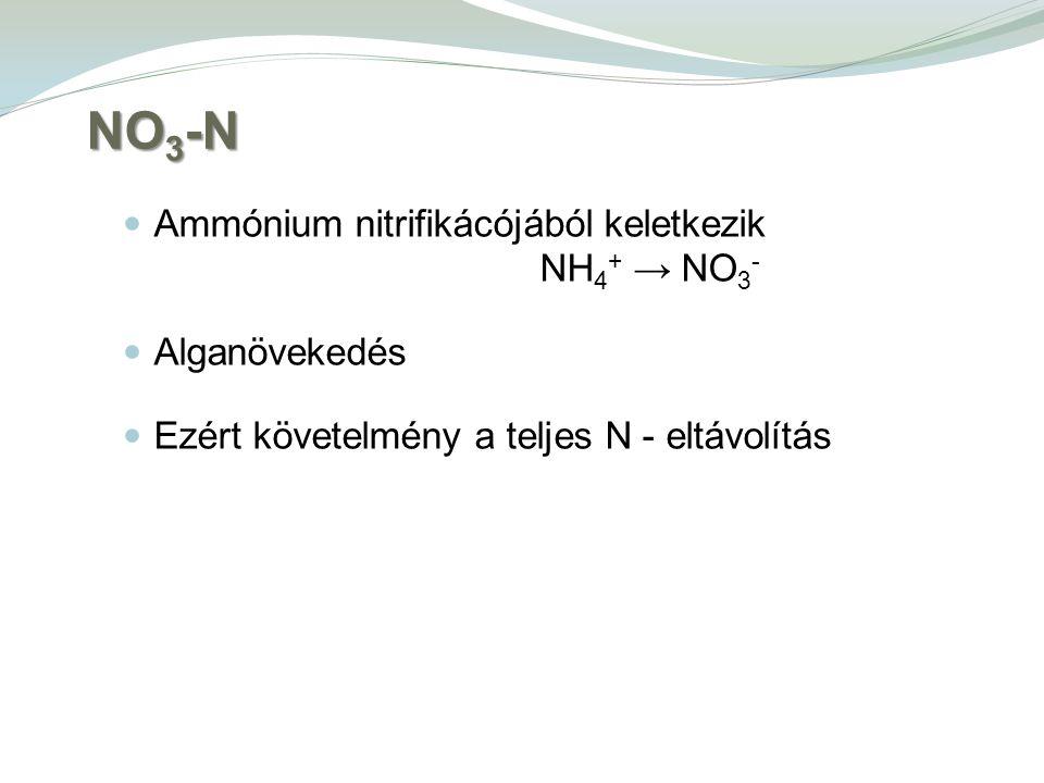 NO 3 -N Ammónium nitrifikácójából keletkezik NH 4 + → NO 3 - Alganövekedés Ezért követelmény a teljes N - eltávolítás