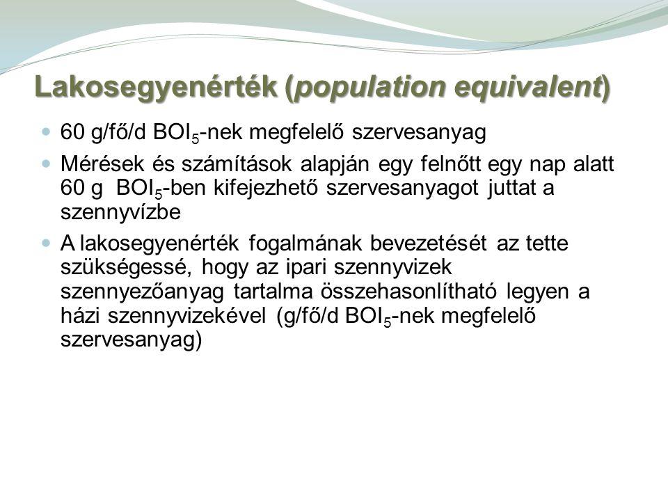 Lakosegyenérték (population equivalent) 60 g/fő/d BOI 5 -nek megfelelő szervesanyag Mérések és számítások alapján egy felnőtt egy nap alatt 60 g BOI 5