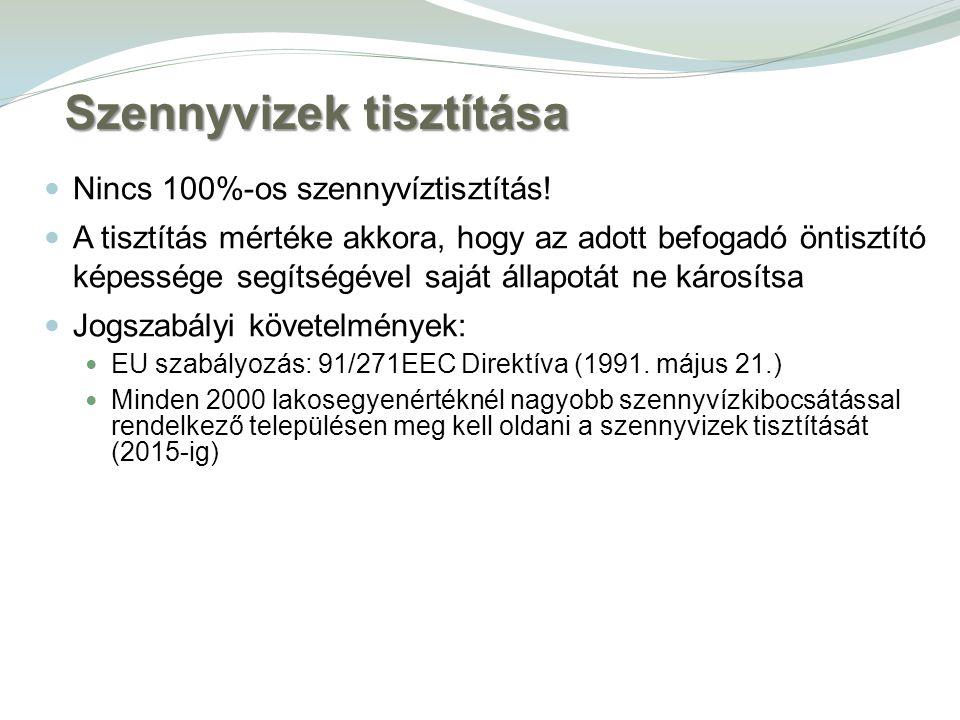 Szennyvizek tisztítása Nincs 100%-os szennyvíztisztítás.