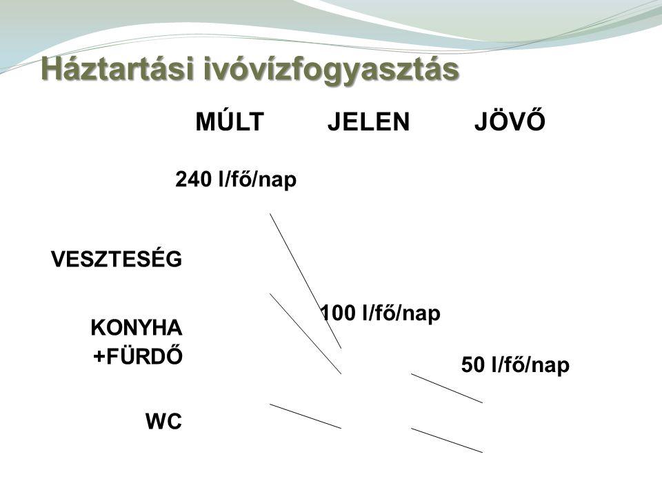 VESZTESÉG KONYHA +FÜRDŐ WC 240 l/fő/nap 100 l/fő/nap 50 l/fő/nap MÚLT JELEN JÖVŐ Háztartási ivóvízfogyasztás