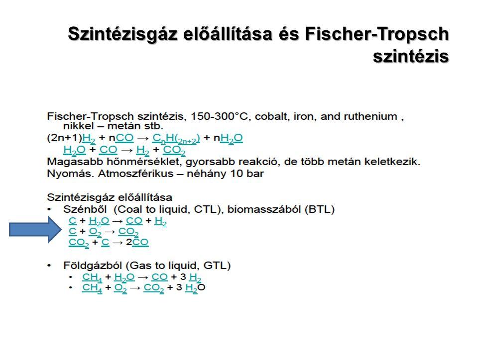 Szintézisgáz előállítása és Fischer-Tropsch szintézis