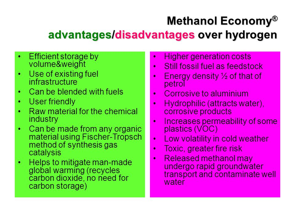 Methanol Economy ® advantages/disadvantages over hydrogen Efficient storage by volume&weight Use of existing fuel infrastructure Can be blended with f