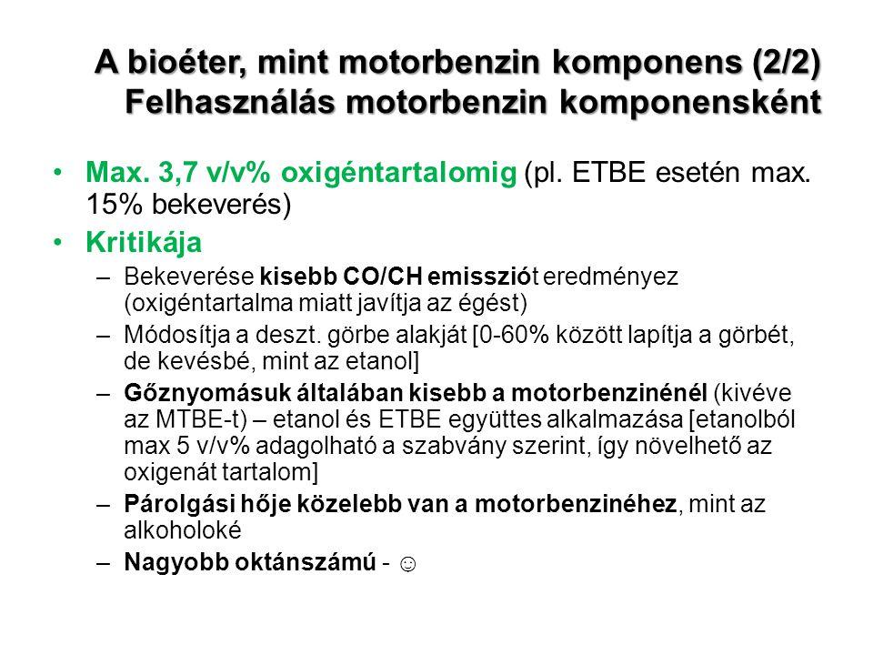 A bioéter, mint motorbenzin komponens (2/2) Felhasználás motorbenzin komponensként Max. 3,7 v/v% oxigéntartalomig (pl. ETBE esetén max. 15% bekeverés)