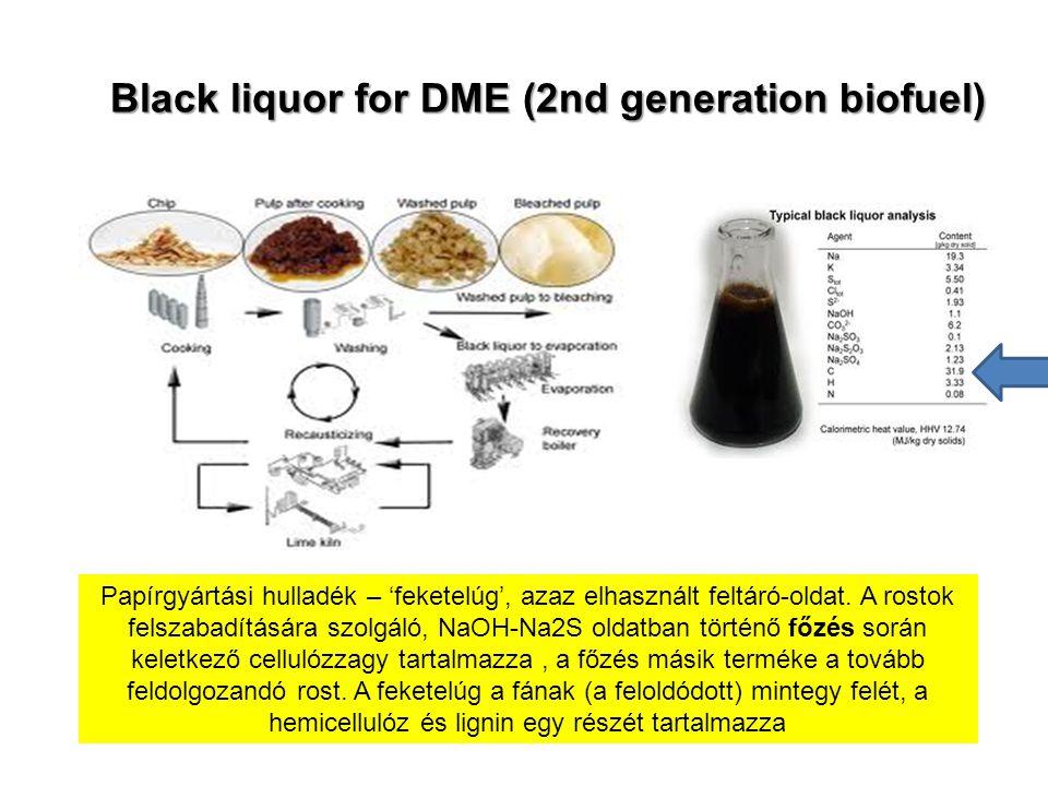 Black liquor for DME (2nd generation biofuel) Papírgyártási hulladék – 'feketelúg', azaz elhasznált feltáró-oldat. A rostok felszabadítására szolgáló,