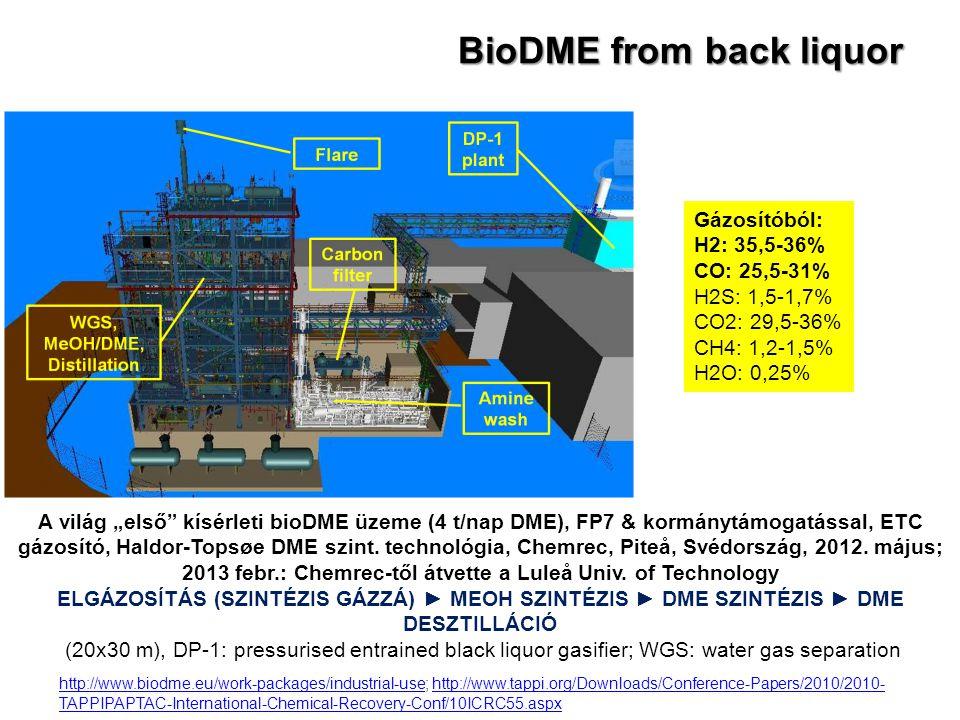 """BioDME from back liquor A világ """"első"""" kísérleti bioDME üzeme (4 t/nap DME), FP7 & kormánytámogatással, ETC gázosító, Haldor-Topsøe DME szint. technol"""