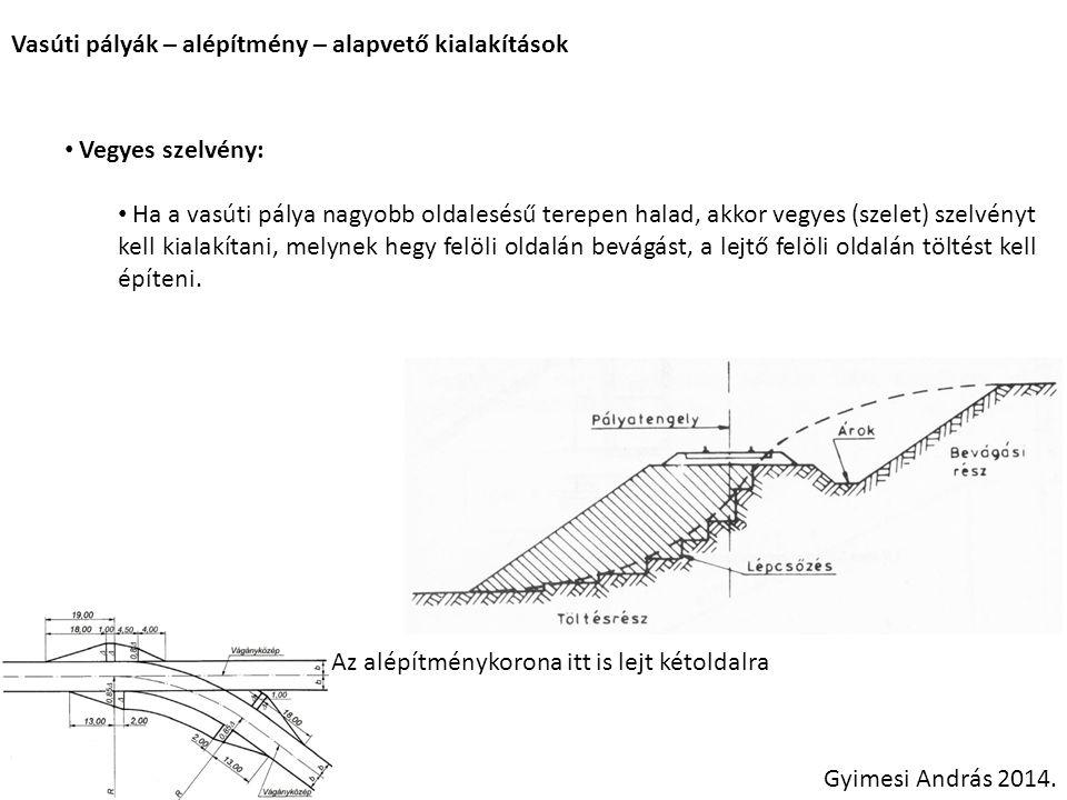 Vasúti pályák – alépítmény – alapvető kialakítások Vegyes szelvény: Ha a vasúti pálya nagyobb oldalesésű terepen halad, akkor vegyes (szelet) szelvény