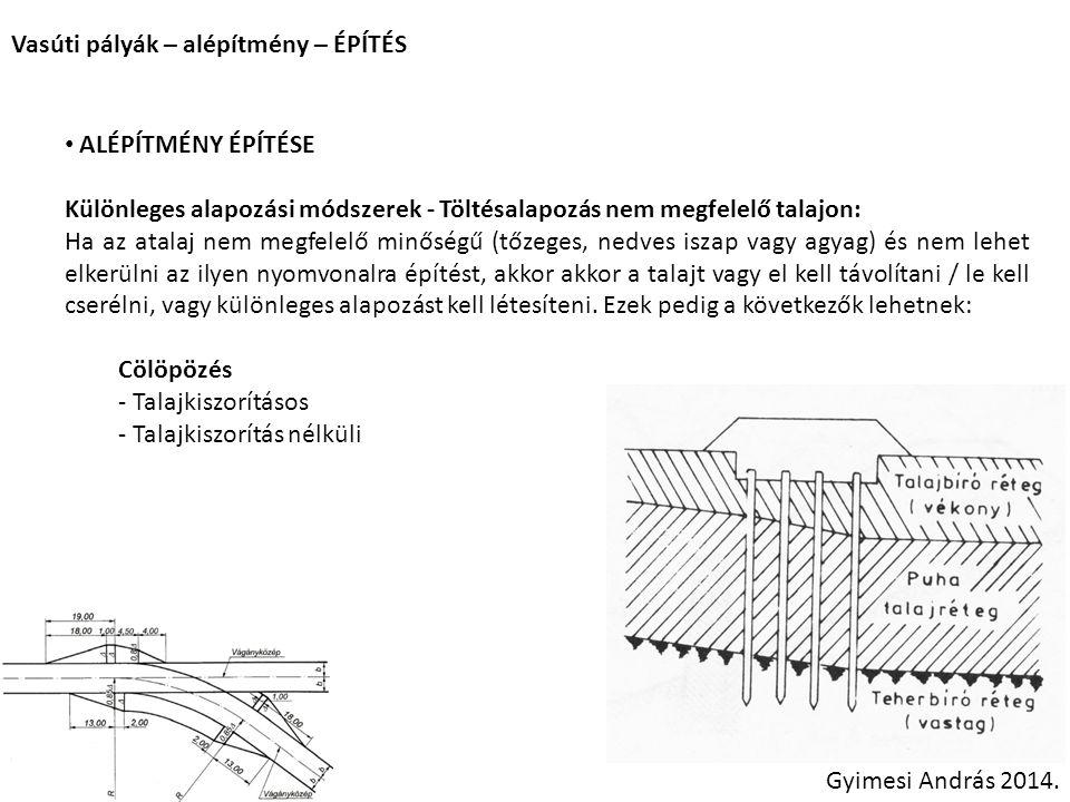 Vasúti pályák – alépítmény – ÉPÍTÉS Gyimesi András 2014. ALÉPÍTMÉNY ÉPÍTÉSE Különleges alapozási módszerek - Töltésalapozás nem megfelelő talajon: Ha